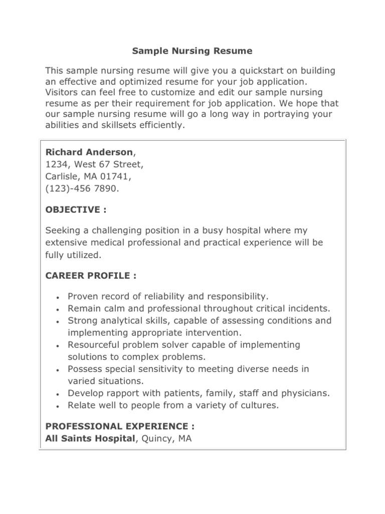 Sample Nursing Resume | Nursing | Patient