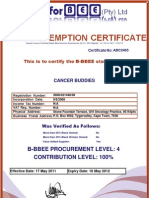 Cancer Buddies BEE Certificate