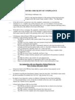 Foreclosure Checklist of Compliance