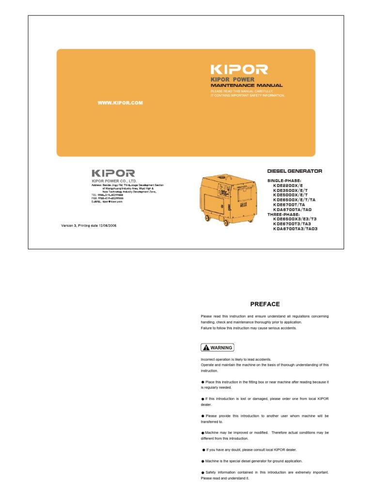 Kipor Diesel Gen Service Manual   Electrical Connector   Electric ...