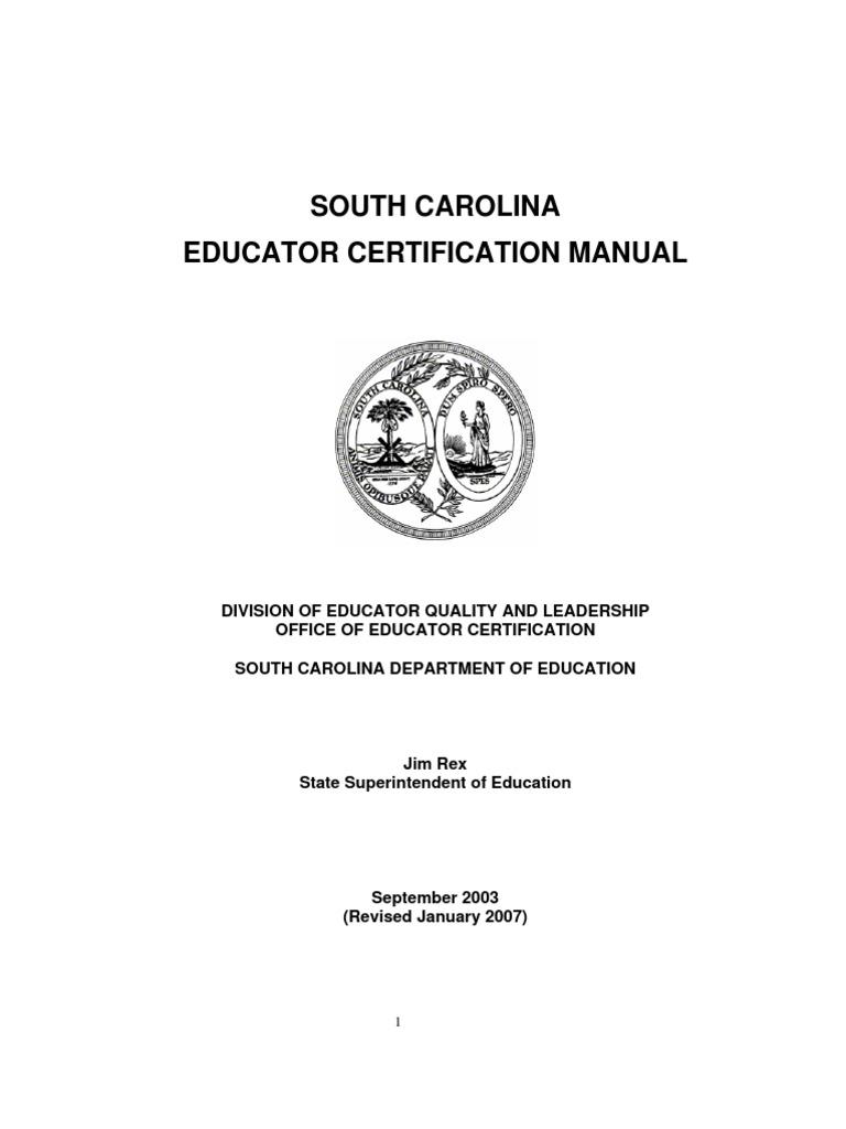 Teacher Certification Manual Professional Certification Academic