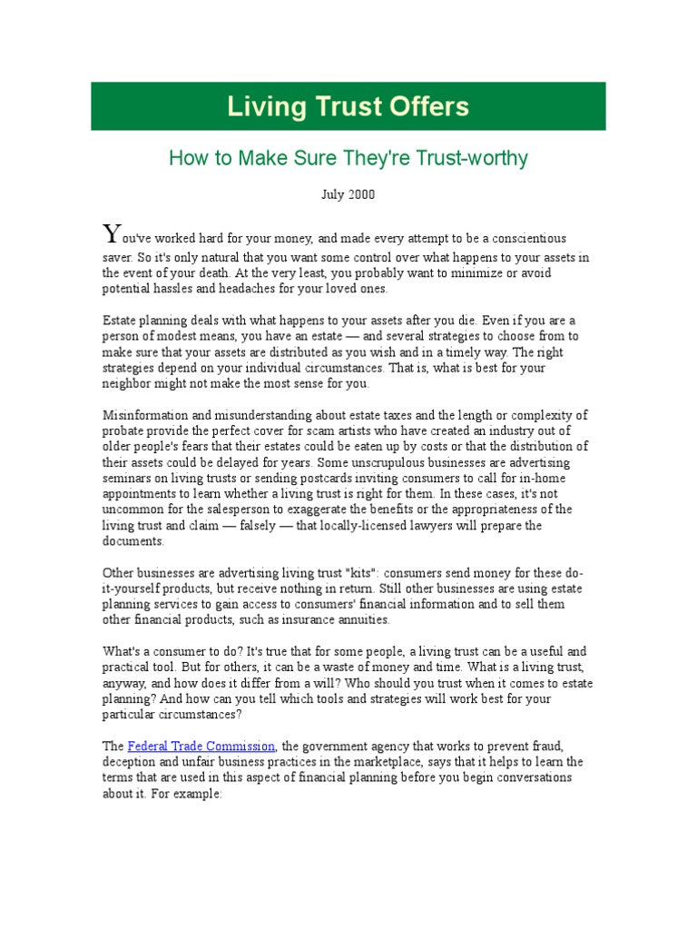 Living trust offers trust law probate solutioingenieria Image collections