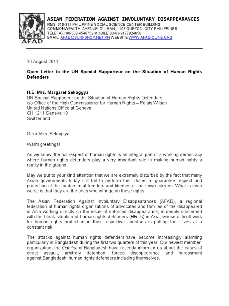 Afads Letter To Un Special Rapporteur On The Situation Of Human