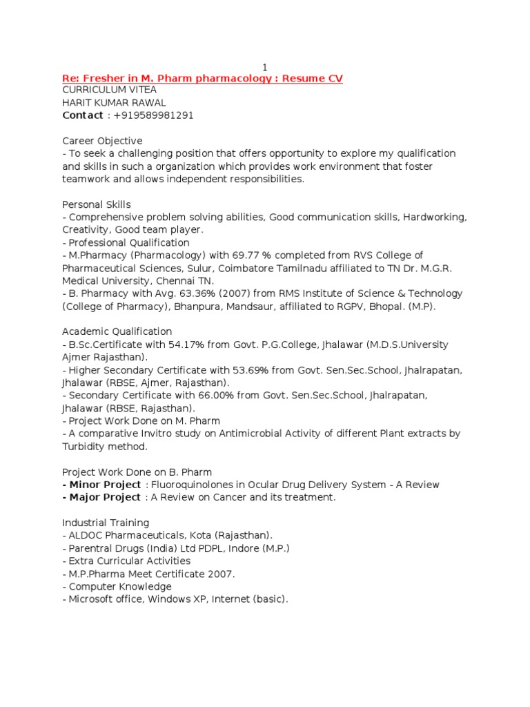 resume format for m pharm freshers 28 images it resume