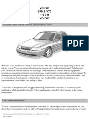 Volvo s70 v70 Owners Manual 1999 | Airbag | Seat Belt