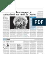 Odebrecht y Lambayeque se contradicen por túnel de Olmos