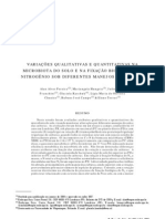 Variações qualitativas e quantitativas na microbiota do solo e na fixação biológica do nitrogênio sob diferentes manejos com soja