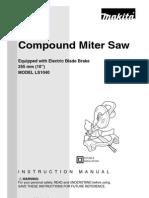 Makita Miter Saw Model LS1040 Manual