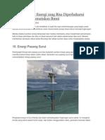 10 Pembangkit Energi Yang Bisa Diperbaharui Untuk Menyelamatakan Bumi