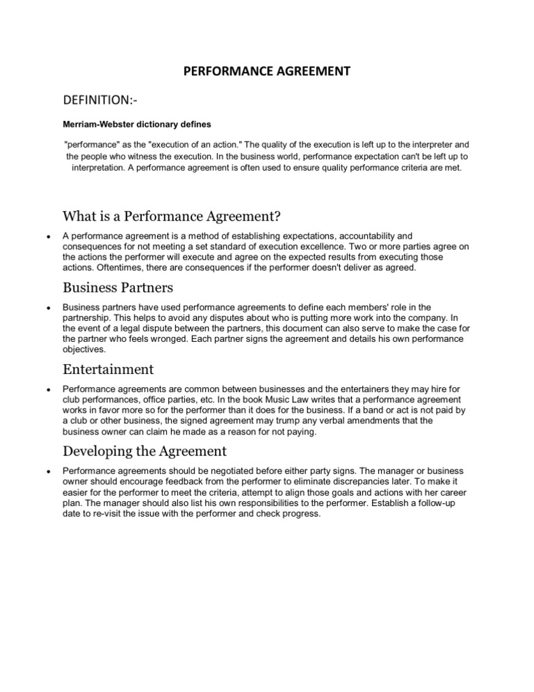 Performance Agreement