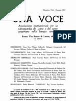 Una Voce Notiziario numero unico 1966-1967