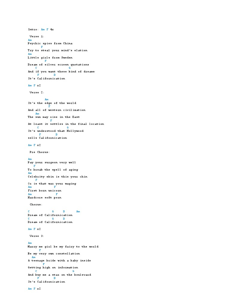 Californication Chords   Songs   Vocal Music