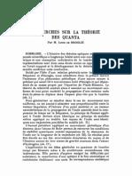 Recherches Sur La Teorie Des Quanta-L de Broglie