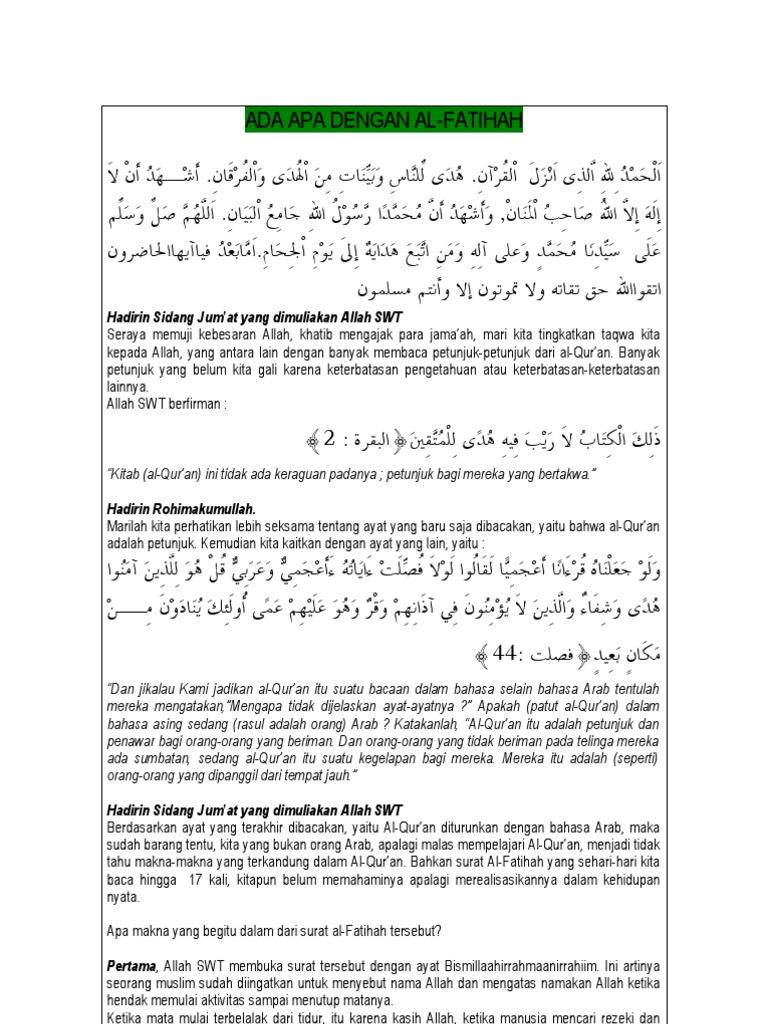 Ada Apa Dengan Al Fatihah