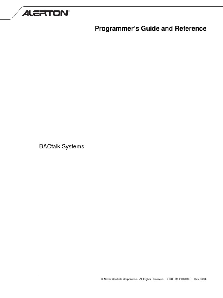 Alerton_Programmers Guide and Reference for BACtalk Systems   Subroutine    License