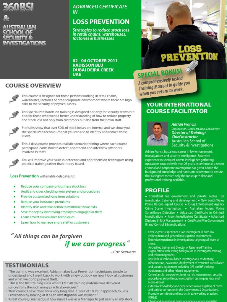 Advanced Certificate in Loss Prevention 02 - 04 October 2011