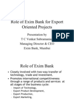 Role of Exim Bank for Export Oriented Projects