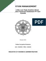 OM Penerapan Little Law Pada Analisis Aliran Finansial Melalui Financial Statement PT Sari Husada