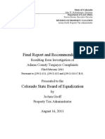 August 16, 2011 - Report on Adams County Assessor Gil Reyes to the Colorado State Board of Equalization