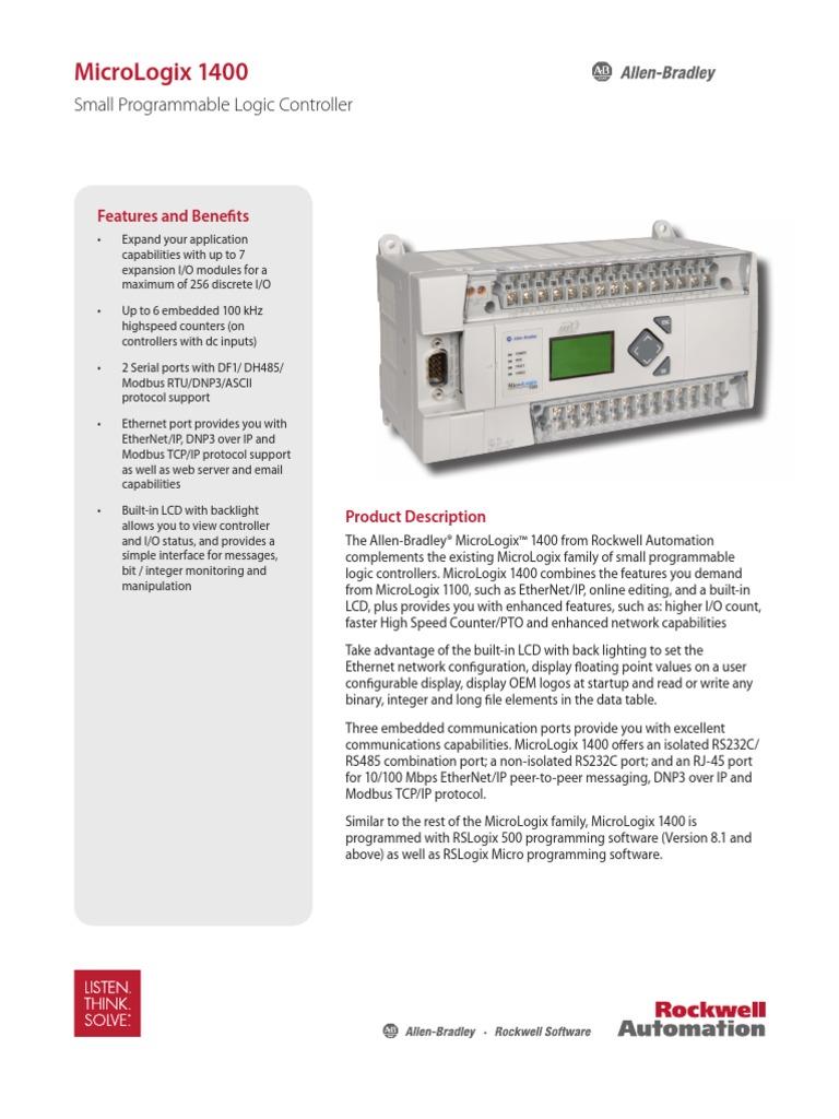 Micrologix 1400 | Programmable Logic Controller | Port (Computer ...