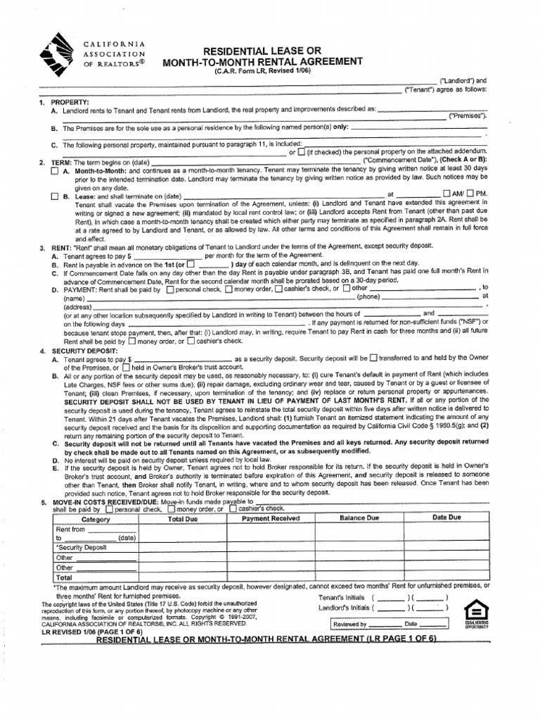 car form lr revised 12 13 C.a.R. Form Lr Residential Lease or Month to Month Rental Agreement0
