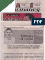 Etimología Toponímica de Tepic, según Don Gbriel Corona Ibarra Córdoba