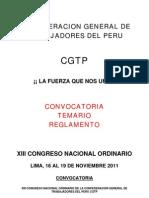 Convocatoria y Reglamento del XIII Congreso de la CGTP