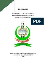 Surat Ijin Operasional Taman Pendidikan Quran Hidayatus Sholikhin