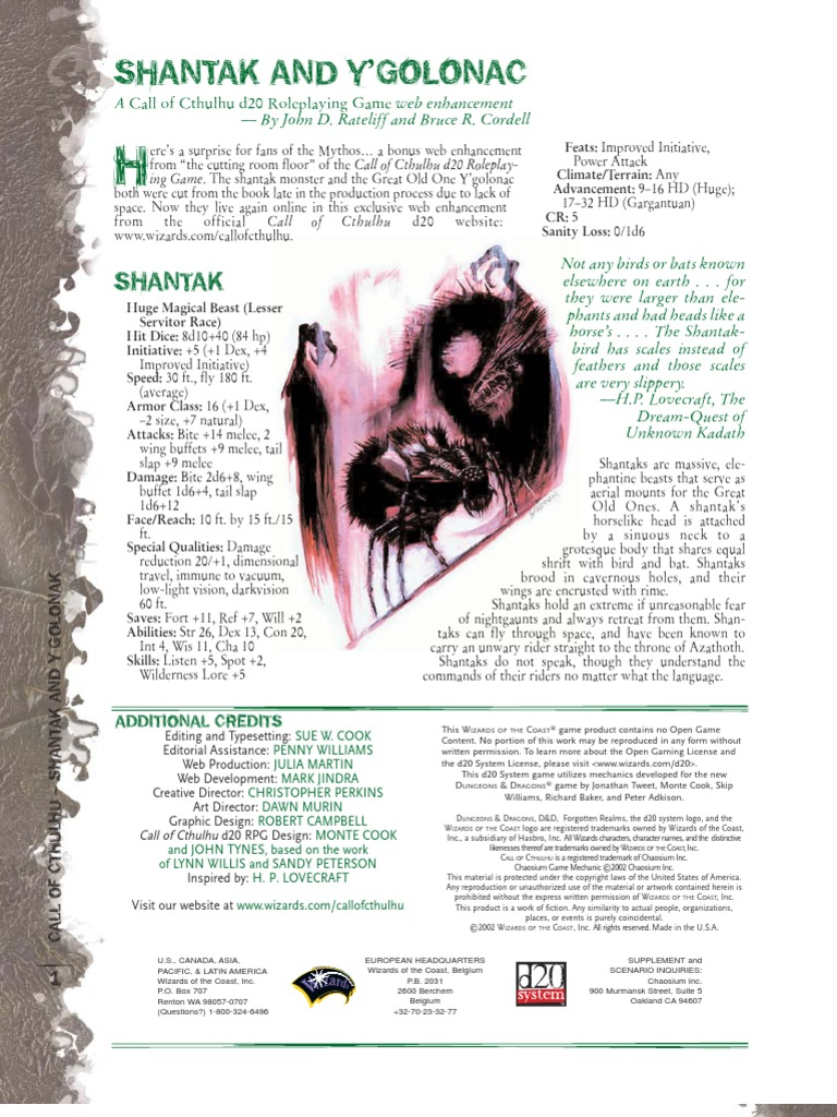 Cthulhu call rpg pdf d20 of