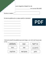 Evaluación diagnóstica Español de 1er año