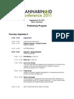 Cannabinoid Conference 2011 Program