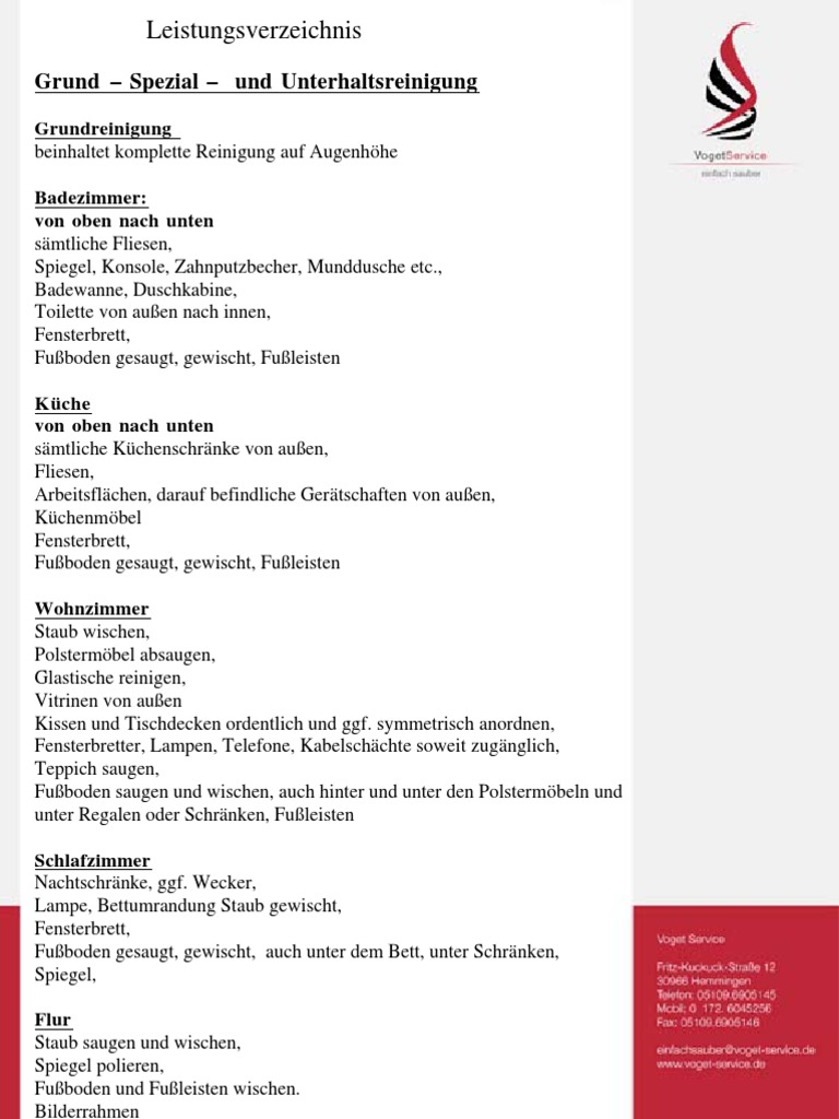 leistungsverzeichnis