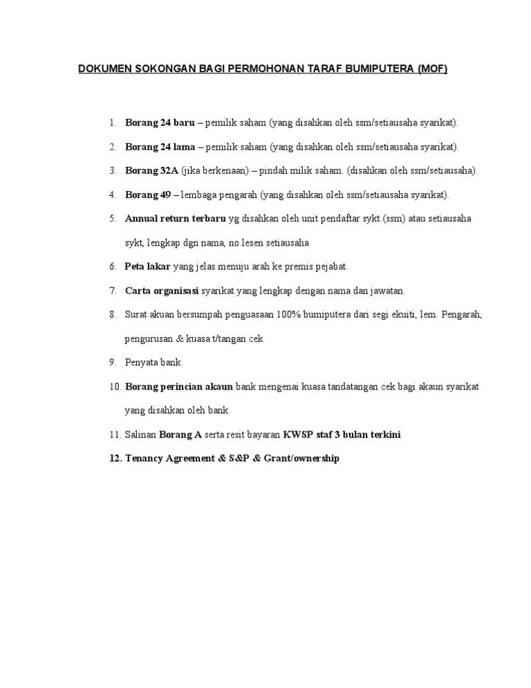 Mof Bumiputera Mof Checklist Mohon Bumi Sahaja