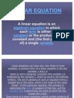 Linear Equation `