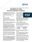 Identifying Formal and Informal Vocabulary