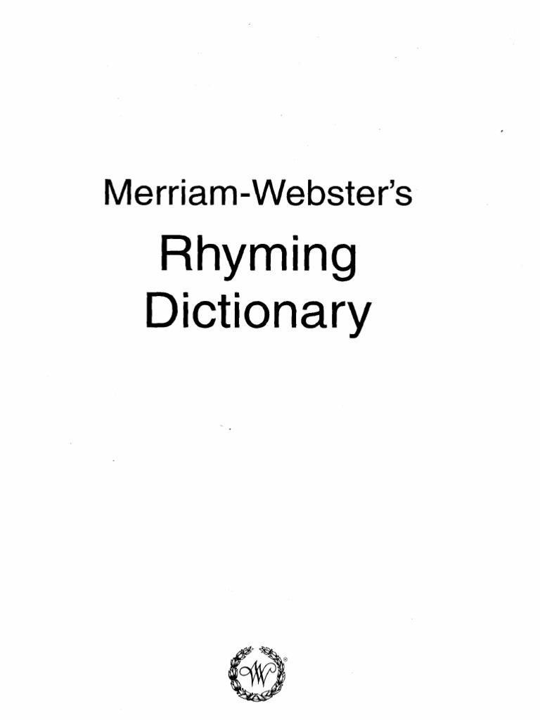 韦伯斯特押韵词典Merriam.Webster_s.Rhyming.Dictionary   Linguistic ...