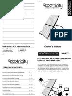 87530 Eco1800S Solar Power Generator Owner's manual VR011110