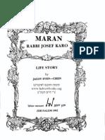 Maran Rabbi Josef Karo Life Story - Jacov Even-Chen Hebrewbooks_org_39687