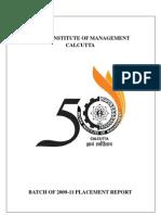 IIM Calcutta Final Placement Report 2011