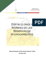 Definiciones y Normas de Reservas de Hidrocarburos