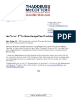 Press Release - McCotter 3rd in New Hampshire Presidential Straw Poll