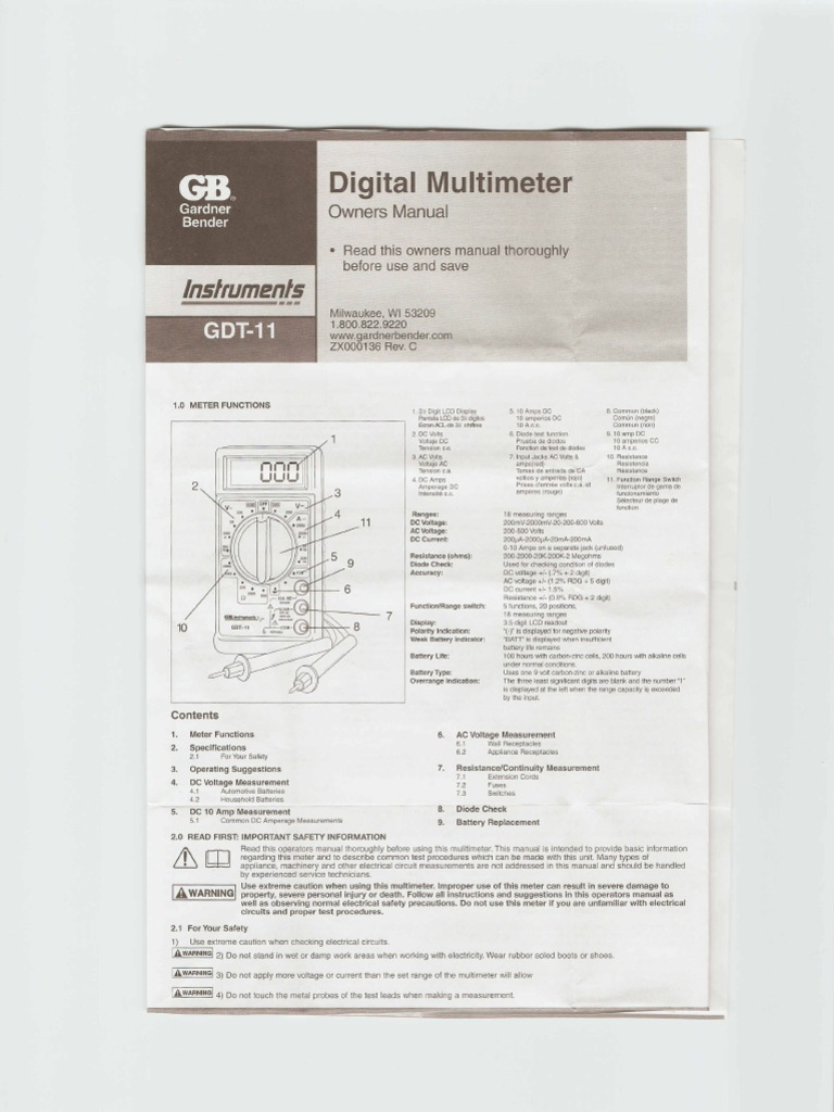 Gb instruments gdt-11 user manual.