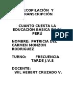Cuanto Cuesta La Educacion Basica en El Peru