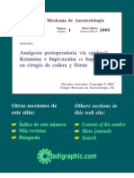 Analgesia Posoperatoria Con Ketamina y Bupivacaina
