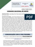 Informe de 18 de agosto de 2011 do Comando Nacional de Greve