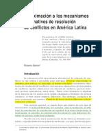 aproximación a los mecanismos alternativos de resolución de conflictos