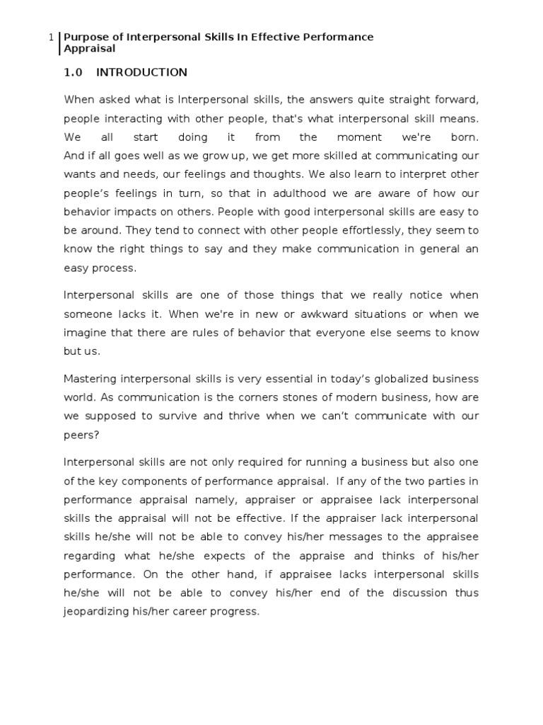 term paper on interpersonal skills performance appraisal