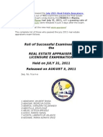The PRC Has Just Released the July 2011 Real Estate Appraisers Exam Results