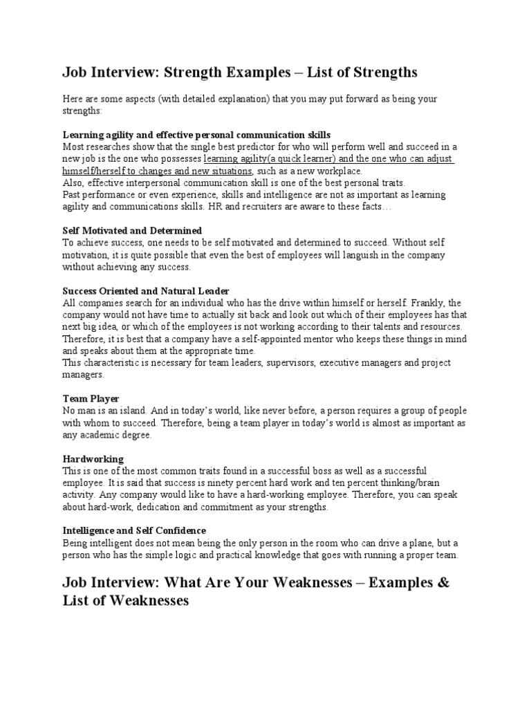 Generous Strengths And Weaknesses Job Interview List Contemporary