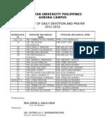 Schedule Devotion